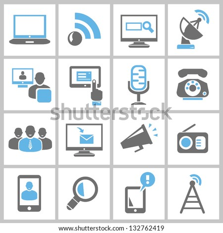 multimedia and communication icons set, vector