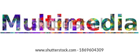 Multimedia. Colorful typography text banner. Vector the word multimedia design. Can be used to logo, card, poster, heading and beautiful title Stock fotó ©