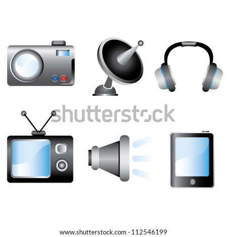 Shutterstock multimedia, electronic device icon set