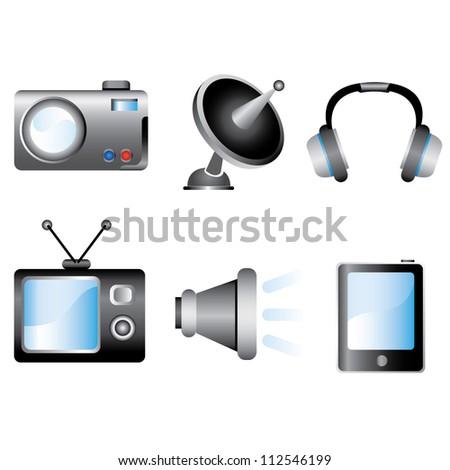 Shutterstock multimedia, electronic device icon set
