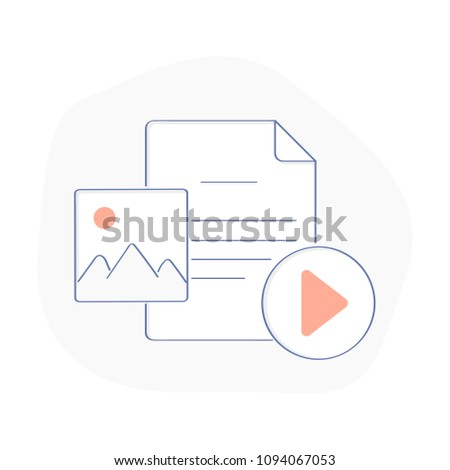 Multimedia File, Media content and web player elements. Photo file, Document blank and Player button. Flat outline vector illustration on white background.