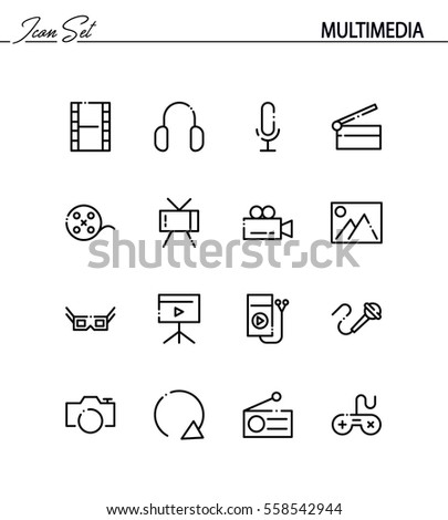 Multimedia flat icon set. Collection of high quality outline symbols for web design, mobile app. Vector thin line icons or logo of mail