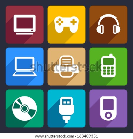 multimedia flat icons set 7
