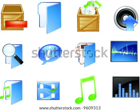 Multimedia icon for application and web design - stock vector