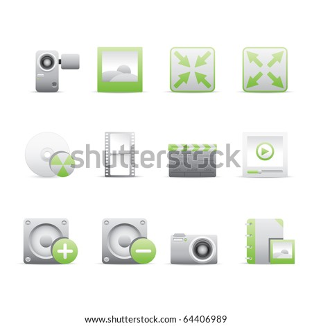 Multimedia icon set 5 - Bi Colored Series (Green and Gray).  Vector EPS 8 format, easy to edit.