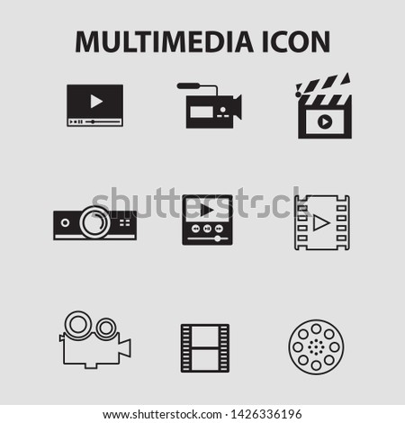 Multimedia, icon set Control multimedia devices. - vector
