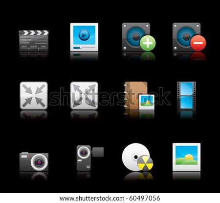 Multimedia icon set 5 - Glossy Series.  Vector EPS 8 format, easy to edit. - stock vector