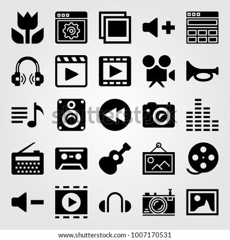 Multimedia icon set vector. guitar, volume, macro and speaker