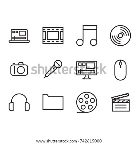 Multimedia Icon Set with Laptop, Film Roll, Camera, Mic, Video Editing, Mouse, Headphone, Folder, Clap Board Icon