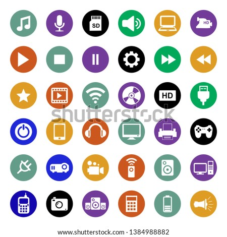 Multimedia Icon Vector, Set of multimedia flat icon, modern and trendy symbol design, for web and ready to print