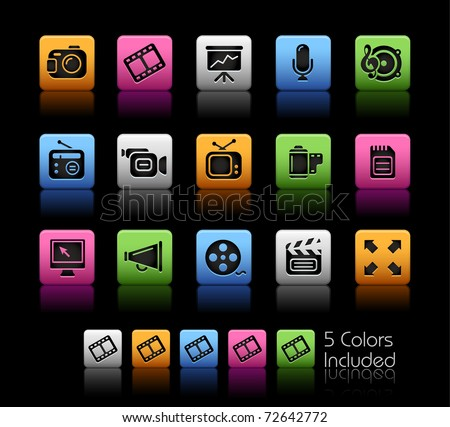 Multimedia Icons // Color Box -------It includes 5 color versions for each icon in different layers ---------