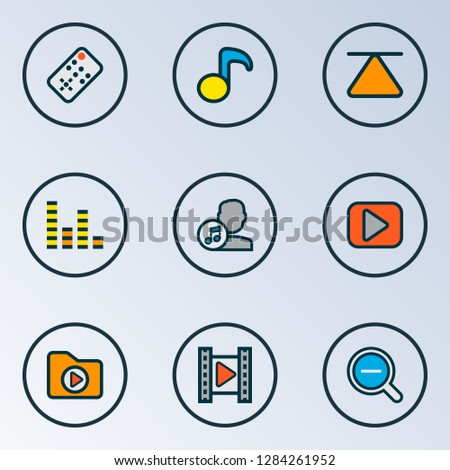 Multimedia icons colored line set with cinema, top, zoom out and other composer elements. Isolated vector illustration multimedia icons.