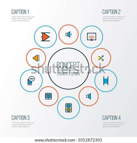 Multimedia icons colored line set with signal, e-reader, previous and other randomize elements. Isolated vector illustration multimedia icons.
