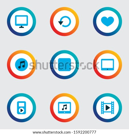 Multimedia icons colored set with display, application, stop and other multimedia elements. Isolated vector illustration multimedia icons.