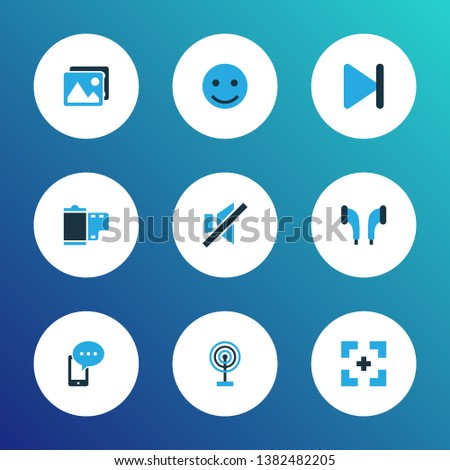 Multimedia icons colored set with emoji, full screen, film and other gallery elements. Isolated vector illustration multimedia icons.