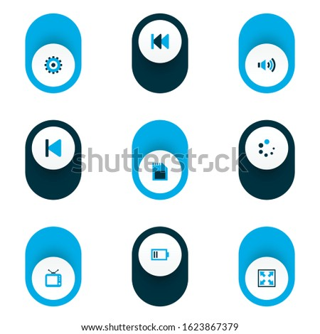 Multimedia icons colored set with sd card, previous, loading and other television elements. Isolated vector illustration multimedia icons.