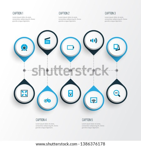 Multimedia icons colored set with web cam, zoom out, audio and other signal elements. Isolated vector illustration multimedia icons.