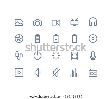multimedia icons line series
