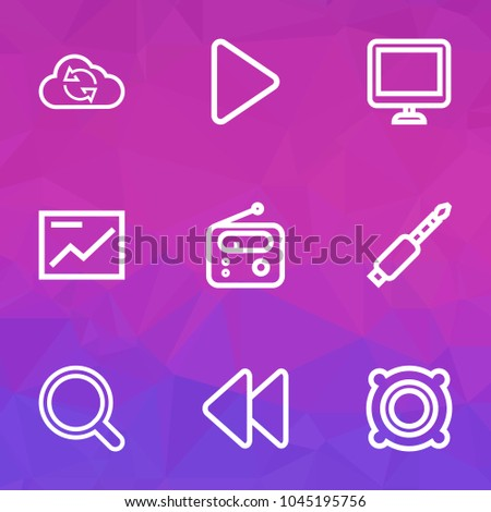 Multimedia icons line style set with display, rewind, speaker and other backward elements. Isolated vector illustration multimedia icons.