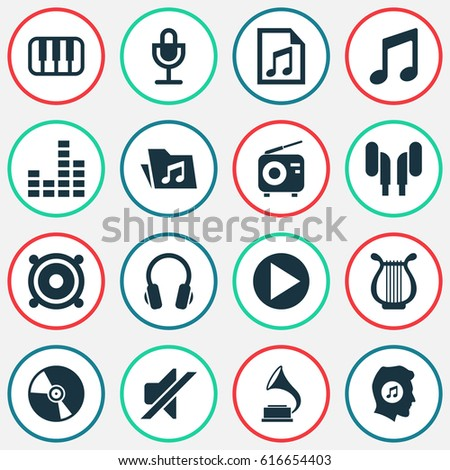 Multimedia Icons Set. Collection Of Earmuff, Lyre, Meloman And Other Elements. Also Includes Symbols Such As Antique, Phonograph, Dossier.