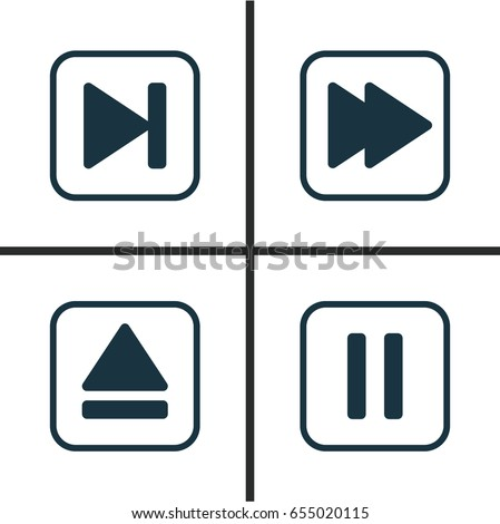 Multimedia Icons Set. Collection Of Following Song, Extract Device, Mute Song And Other Elements. Also Includes Symbols Such As Rewind, Eject, Extract.