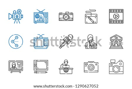 multimedia icons set. Collection of multimedia with camera, photo camera, news report, graphic tablet, theater, journalist, television. Editable and scalable multimedia icons.