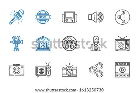 multimedia icons set. Collection of multimedia with film, share, photo camera, tv, television, news reporter, theater, video camera, sound. Editable and scalable multimedia icons.