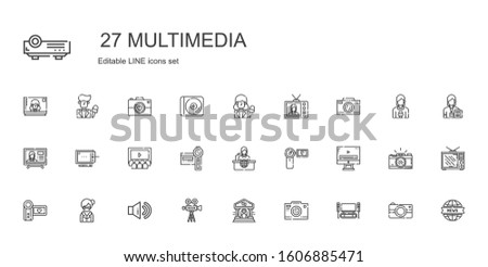 multimedia icons set. Collection of multimedia with home cinema, photo camera, theater, video camera, sound, librarian, camcorder, video player. Editable and scalable multimedia icons.