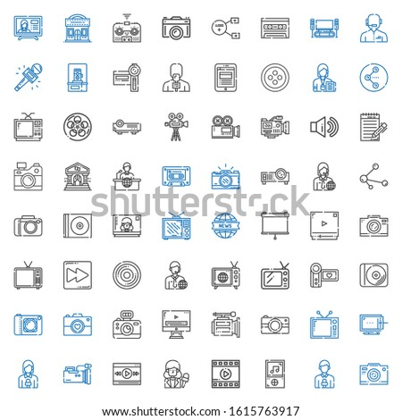 multimedia icons set. Collection of multimedia with photo camera, news reporter, music player, film, video player, video camera, graphic tablet. Editable and scalable multimedia icons.