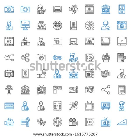 multimedia icons set. Collection of multimedia with set square, television, cd, video camera, compact disc, theatre, camcorder, librarian. Editable and scalable multimedia icons.