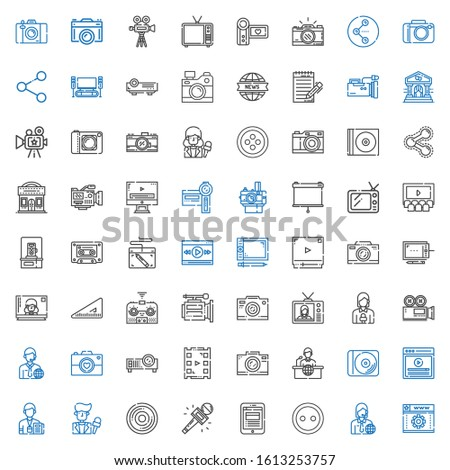 multimedia icons set. Collection of multimedia with web development, news reporter, button, news report, journalist, compact disc, video. Editable and scalable multimedia icons.