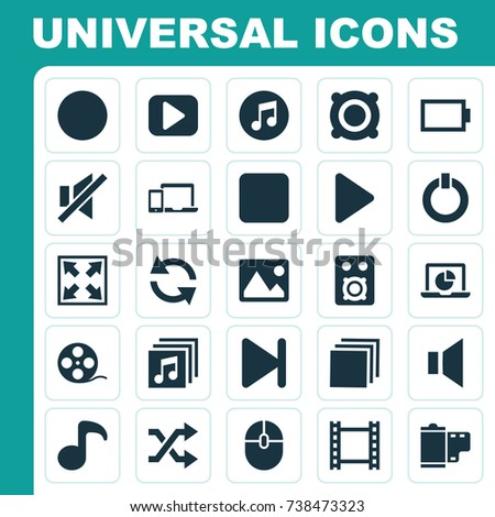 Multimedia Icons Set. Collection Of Power, Quaver, Picture And Other Elements. Also Includes Symbols Such As Group, Empty, Filmstrip.