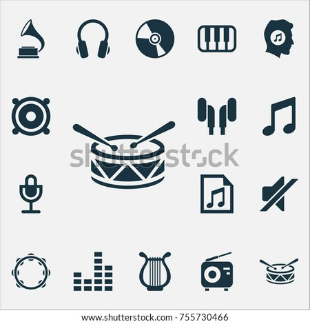 Multimedia Icons Set. Includes Icons Such As Timbrel, Equalizer, Megaphone And Other.