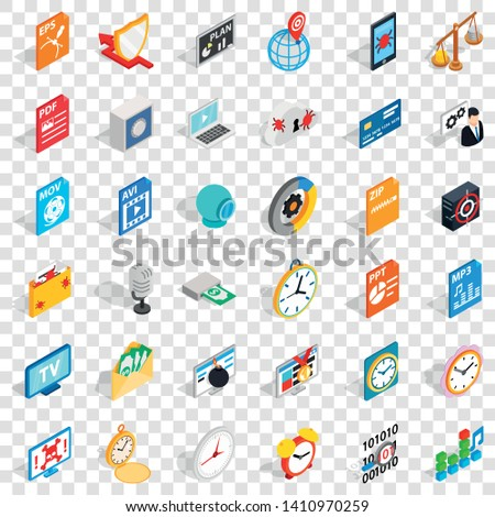 Multimedia icons set. Isometric style of 36 multimedia vector icons for web for any design