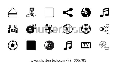 Multimedia icons. set of 18 editable filled and outline multimedia icons: note, movie tape, cd, stop, share, disc and music note, audio system, eject button