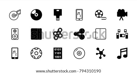 Multimedia icons. set of 18 editable filled and outline multimedia icons: share, camera, stop, mobile phone music, audio system, cd, binary code, disc, movie tape, loudspeaker