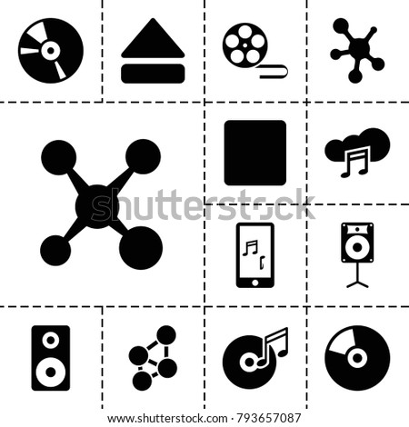 Multimedia icons. set of 13 editable filled multimedia icons such as share, cd, stop, eject button, mobile phone music, music cloud, loudspeaker, disc and music note