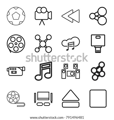 Multimedia icons. set of 16 editable outline multimedia icons such as share, movie tape, camera, stop, eject button, play back, music cloud, audio system, tv set