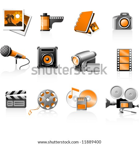 Multimedia icons set photo and video