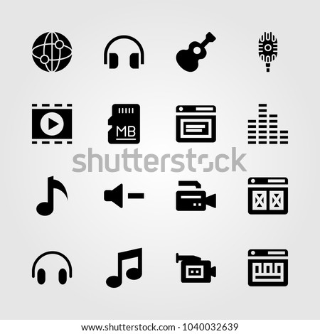 Multimedia icons set. Vector illustration internet, video camera, headphones and browser