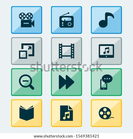 Multimedia icons set with camera, textbook, video and other tablet  elements. Isolated vector illustration multimedia icons.