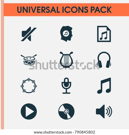 Multimedia icons set with file, start, earphone and other mike elements. Isolated vector illustration multimedia icons.