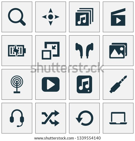 Multimedia icons set with jack, begin, search and other notebook elements. Isolated vector illustration multimedia icons.