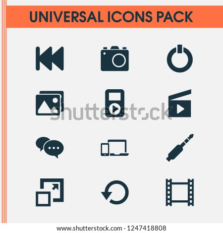 Multimedia icons set with jack, previous, enlarge and other audio elements. Isolated vector illustration multimedia icons.