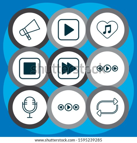 Multimedia icons set with megaphone, favorite tune, media player and other mike elements. Isolated vector illustration multimedia icons.