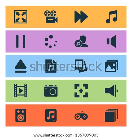 Multimedia icons set with photo apparatus, cinema, camera and other movie elements. Isolated vector illustration multimedia icons.
