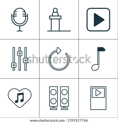 Multimedia icons set with refresh, scene, amplifier and other clef elements. Isolated vector illustration multimedia icons.