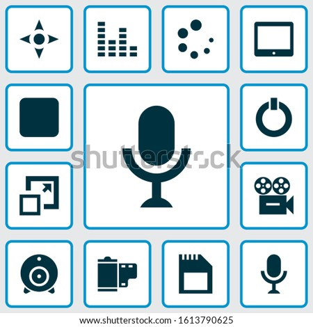 Multimedia icons set with sd card, audio mixer, tablet and other karaoke elements. Isolated vector illustration multimedia icons.