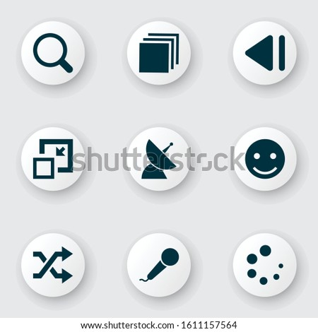 Multimedia icons set with shuffle, slow backward, minimize and other previous elements. Isolated vector illustration multimedia icons.