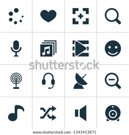 Multimedia icons set with zoom out, shuffle, favorite and other karaoke elements. Isolated vector illustration multimedia icons.